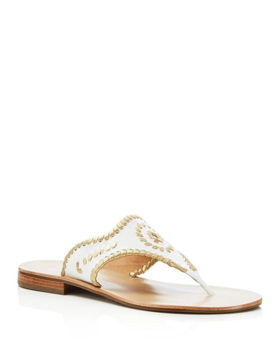 Jack Rogers Blair Metallic Trim Thong Sandals