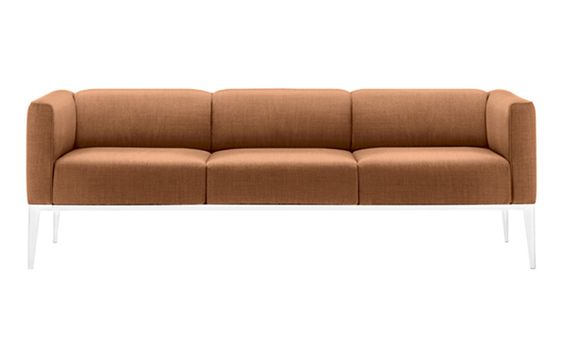 Design by Jean-Marie Massaud  Three-seat sofa with MDF frame and aluminum legs, upholstered in leather, faux leather, fabric or customer's fabric. Fully removable cover version available upon request with a surcharge