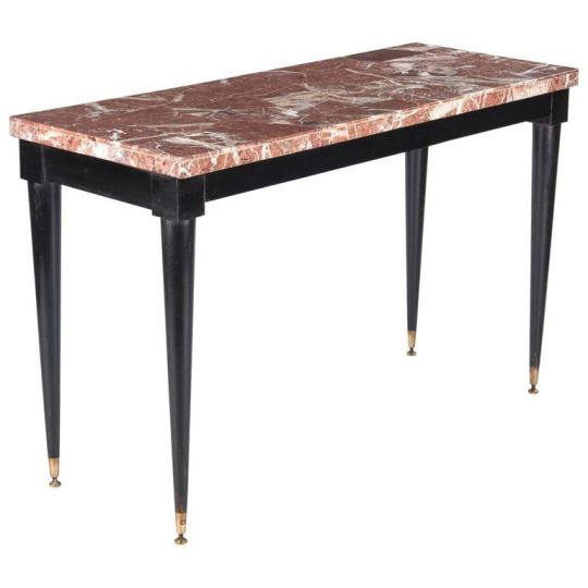 Mid Century Italian Marble Top Console Table 1950s A Long Marble Top Console Table With Lacquered Marble Top Console Table Console Table Marble Tables Design