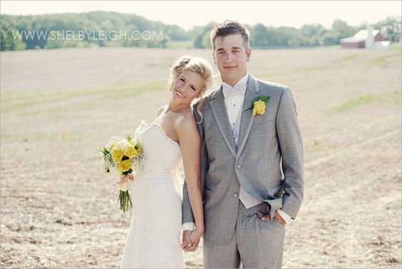 my groom looks like a model in this pic! country wedding