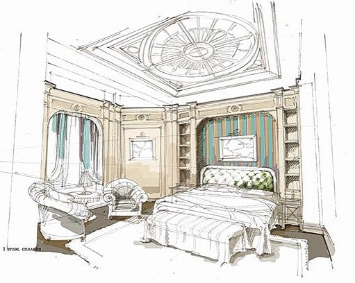 Bedroom Royal Design Interior Interiordedign Sketch Art