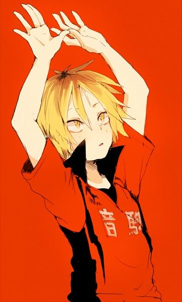 Tags: Red Background, Shiuka (Shiupiku), Haikyuu!!, Volleyball Uniform, Kozume Kenma