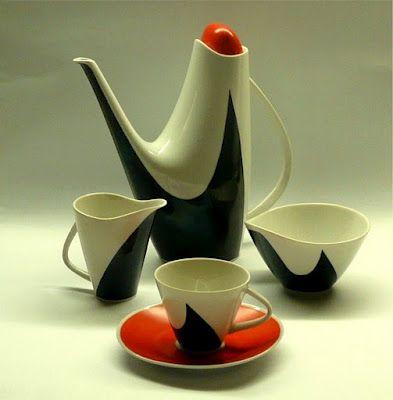 Czech coffee service by Jaroslav Ježek, 1959.  ooooh how I love the shape of these pieces!