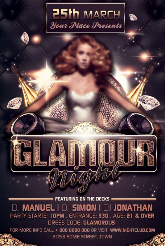 """Glamour Night Party-Club Flyer Template is very modern flyer with glamour look that will give the perfect promotion for your upcoming event or nightclub party!  1 PSD file –4""""x6"""" size with 0.25"""" bleed  Clearly labeled folders and layers  CMYK – 300dpi - Ready to print with guides"""