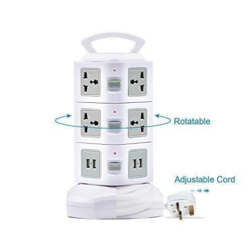 From 27 99 Power Strip Universal Extension Lead With Usb Slots Glcon Surge Protector Vertical Tower Socket 3m 9 8ft 10 Way Outl With Images Plug Socket Sockets Power Strip