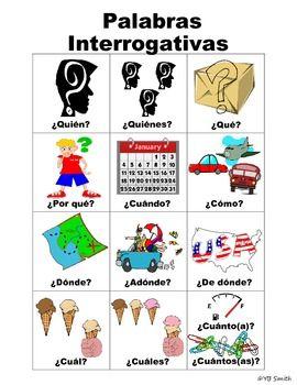 Palabras interrogativas con ejemplos usando imagenes. Estas fotos realmente ayudan a sus estudiantes a ver el significado de cada palabra y como las pueden usar correctamente en su dialecto.