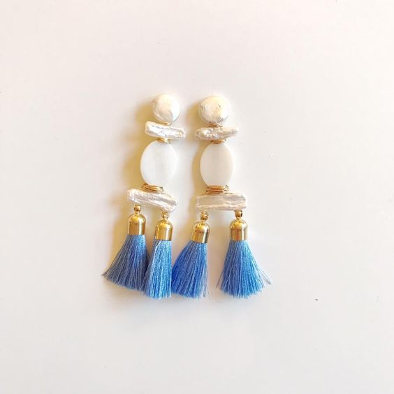 double paris blue silk + mother of pearl + pearl
