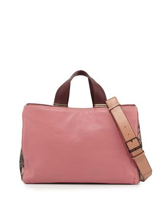 Inez Leather Carryall Tote Bag, Dusty Pink Multi by Pour la Victoire at Neiman Marcus.