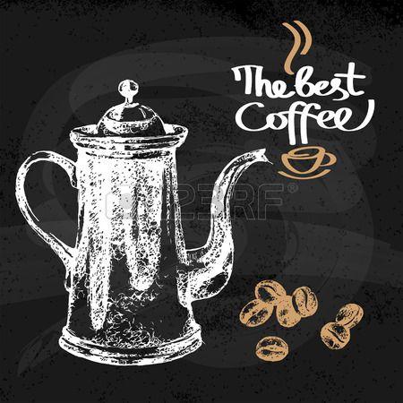 Mano fondo dibujado bosquejo caf� vintage. Ilustraci�n del vector. El dise�o del men� de cafeter�a y restaurante photo