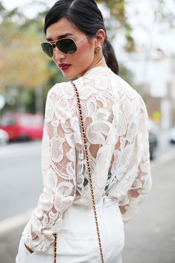 white lace.burgundy lips.