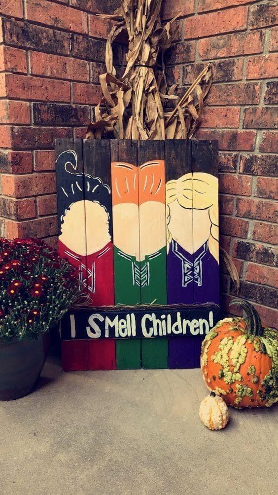 Hocus Pocus Diy Wood Craft Wood Halloween Decorations Fun Diy Halloween Decorations Dollar Store Halloween Decorations