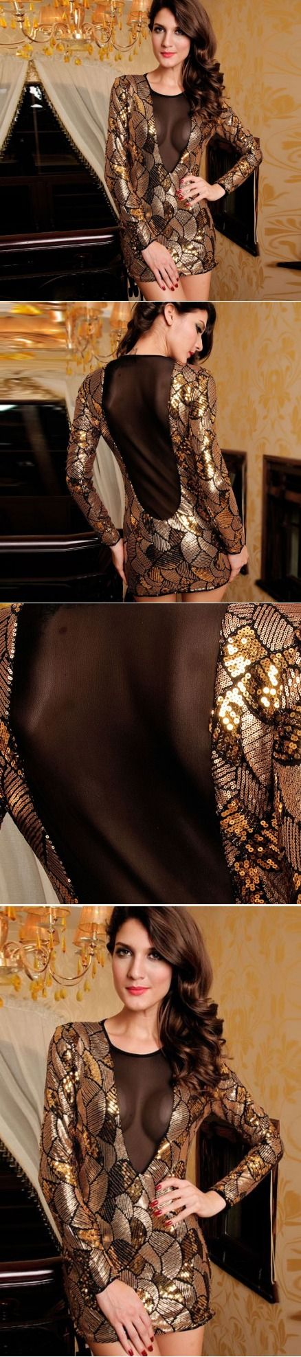 """Clipped Jumpsuit Sleeved Outfit Dresses Clubbing Sequined Holiday Tribal """"Pretty…"""