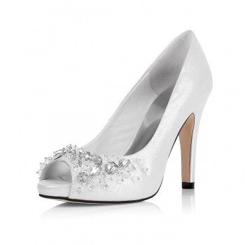 Elegant Jeweled Silver Brides High Heeled Wedding Shoes