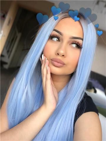 Long Light Cerulean Bright Blue Straight Synthetic Lace Front Wig Cool Hair Color Hair Styles Cool Hairstyles