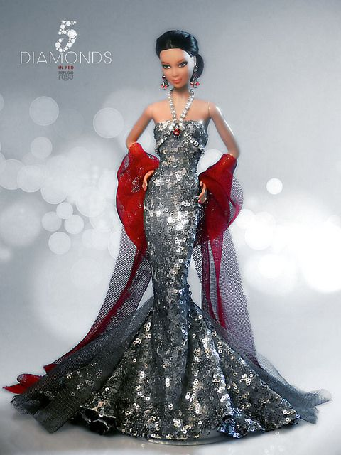 fashion doll, silver dress, 5 Diamonds in Red | Flickr - Photo Sharing!