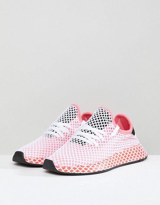 adidas Originals Deerupt Runner Sneakers In Pink And Red