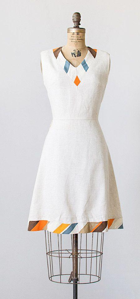 vintage 1960s linen striped collar hem dress   #vintage #1960s #60sdress