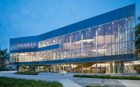 Vancouver university building by KPMB features fritted glass and rough-sawn…