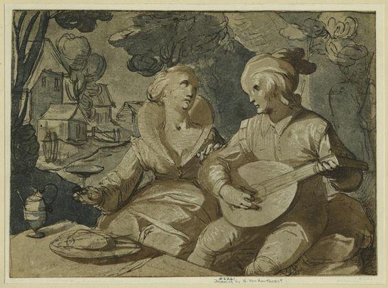 Honthorst Gerrit van (1590–1656) Junges Paar im Freien