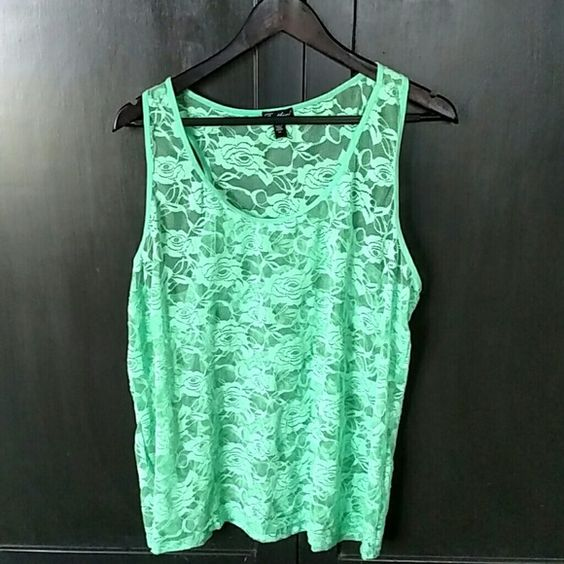 Lace Tank Mint green lace tank with stretch. Could be great with a cami underneath or with a blazer over top. feathers Tops Tank Tops