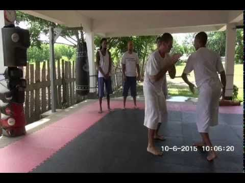 Developing a flow with awareness, building physical and mental attributes dealing with an upper or lower hand with excessive force. June, 2015. Mae Taeng, Th...