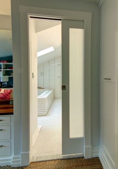 Pocket doors doors and frosted glass on pinterest - Bathroom vanity with frosted glass doors ...