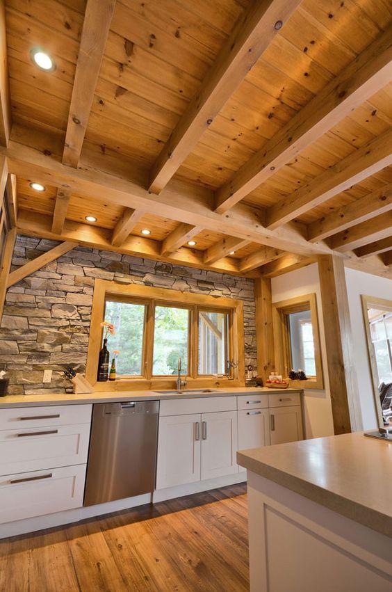 timber frame interior design r u s t i c pinterest stone backsplash wood ceilings and window. Black Bedroom Furniture Sets. Home Design Ideas