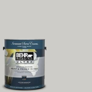 Behr premium plus ultra 1 gal home decorators collection cotton grey satin enamel interior - Behr home decorators collection image ...