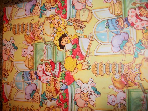"vintage strawberry shortcake wrapping paper - one sheet 20"" by 21"""
