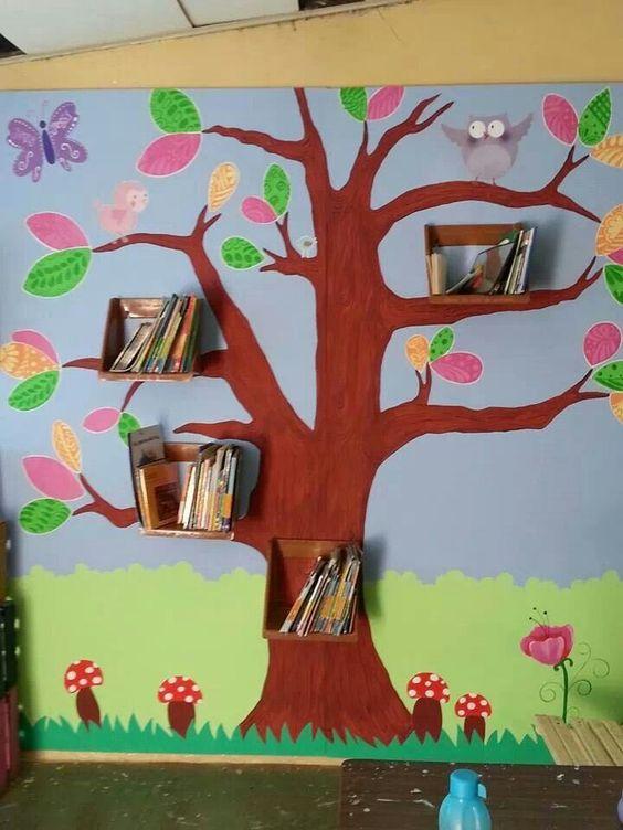 decorar sala de kinder:Biblioteca escolar ou Cantinho da Leitura