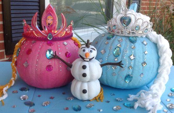 Elsa, Anna, and Olaf pumpkins! #Frozen