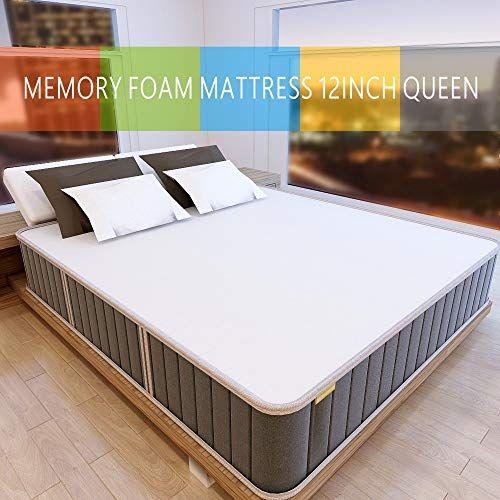 Milemont 12 Queen Memory Foam Gel Infused Bed Mattress Conventional White Mattress Queen Mattress Size Bed Mattress Memory Foam