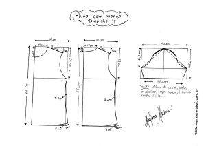 Esquema de modelagem de Blusa Básica tamanho  48.