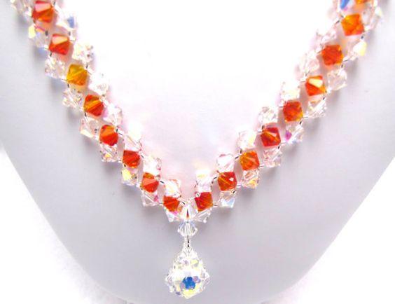 Fire and Ice Swarovski Crystal Necklace by EledesignbyLauren, $69.50
