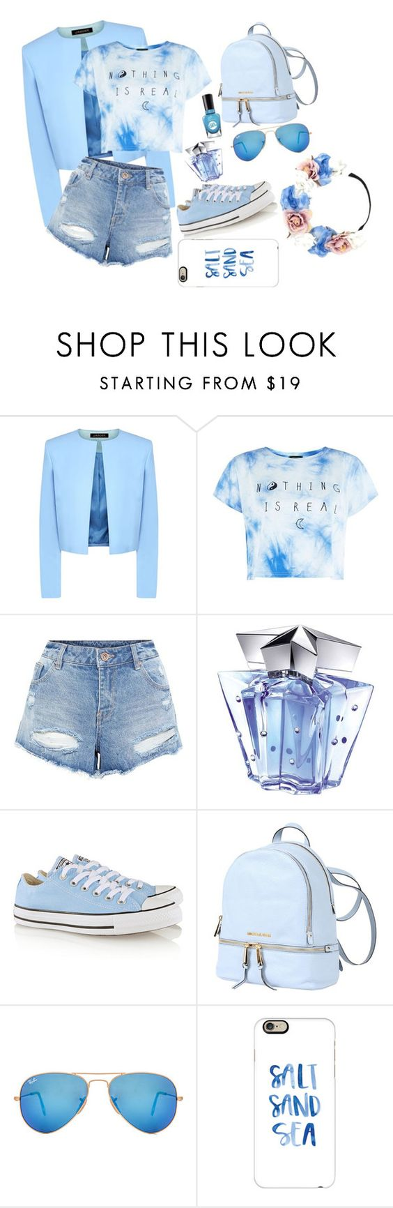 """""""BLUE"""" by renitadesti ❤ liked on Polyvore featuring Jaeger, Sally Hansen, Thierry Mugler, Converse, MICHAEL Michael Kors, Ray-Ban, Casetify and Forever 21"""