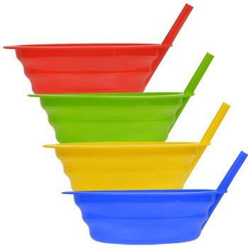 Colorful Plastic Bowls with Built-In Straws