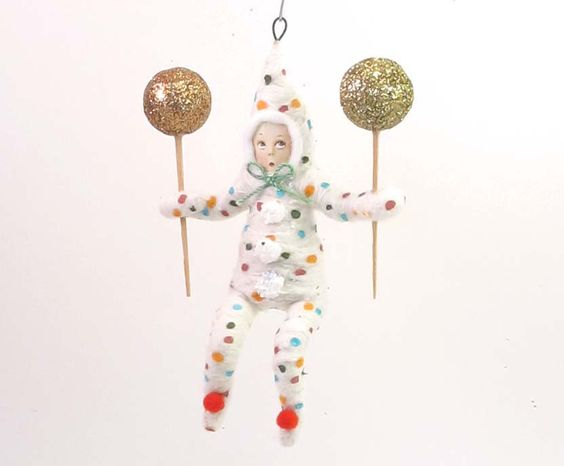 Spun Cotton Vintage Style Clown Child Ornament by VintagebyCrystal on Etsy https://www.etsy.com/listing/221463048/spun-cotton-vintage-style-clown-child