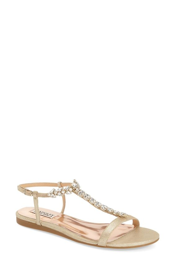 Badgley Mischka 'Amuse II' Embellished T-Strap Sandal (Women)