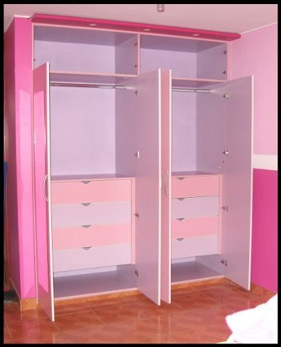 Catalogo de closet para ni as puertas cl set y cocinas for Roperos para habitaciones pequenas