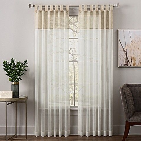 Zelda 95 Inch Tab Top Sheer Window Curtain Panel In Linen Panel