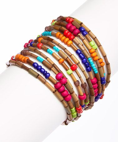 Another great find on #zulily! Tan & Red Multi-Strand Cuff #zulilyfinds