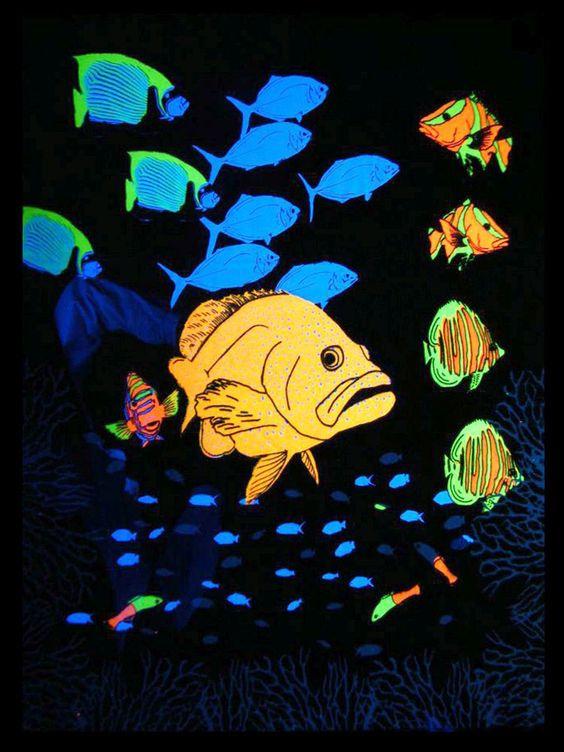 """UV Schwarzlicht Baumwoll Tuch Poster """"Seascape"""" #blacklight #schwarzlicht #wallpaper #neon #seascape #psy #deco"""