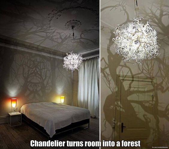 Beautiful chandelier turns room into a forest. I think it actually looks creepy.....