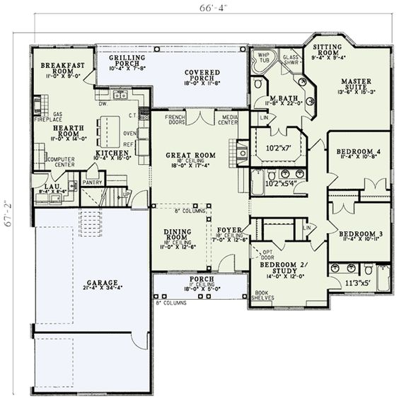 Plan 5933nd open living pinterest 3 car garage house 4 bedroom single story floor plans