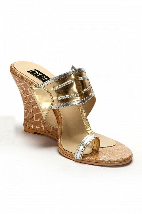 Golden Kolhapuri Wedges, Sandals, Footwear for Women, Designer, Latest, Online