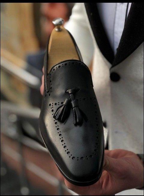 Custom+Handmade+Casual+Black+Leather+Fo