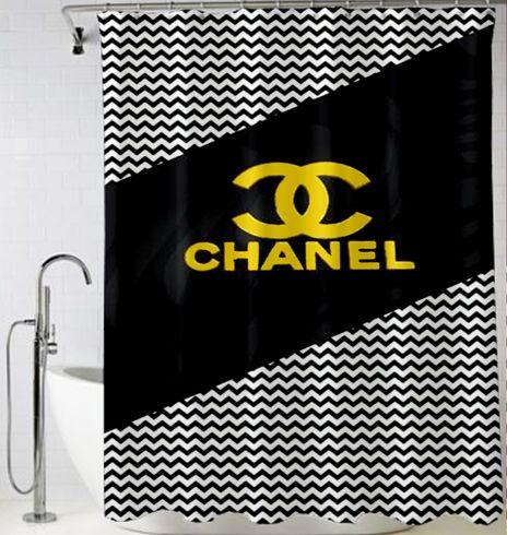 #Chevron #Coco #Chanel #Logo #Shower #Curtain