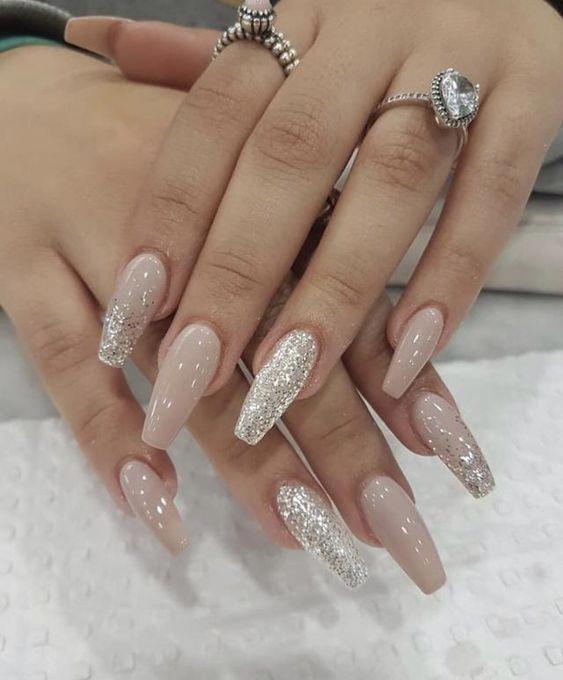 Medium Long Coffin Acrylic Nails Glitter Nails Rose Gold Nails Design Gold Nail Designs Rose Gold Nails