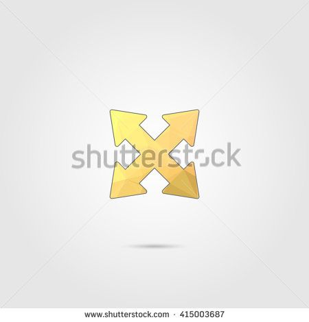 arrow with low poly design  - stock vector