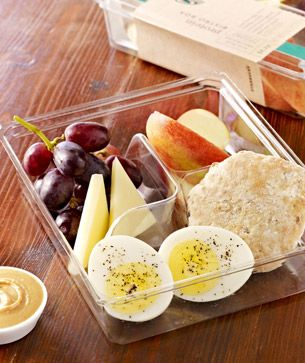 Protein box= Cage-free egg, white Cheddar cheese, honey peanut butter spread, multigrain muesli bread, apples and grapes.